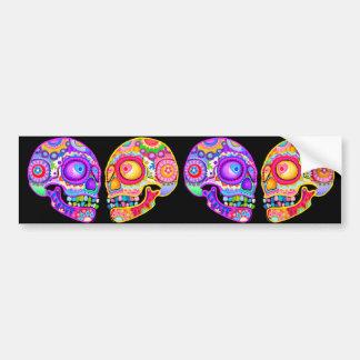 Adhésif pour pare-chocs coloré de crânes de sucre autocollant de voiture
