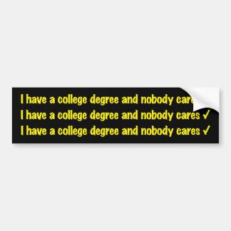 adhésif pour pare-chocs de diplôme universitaire autocollant de voiture