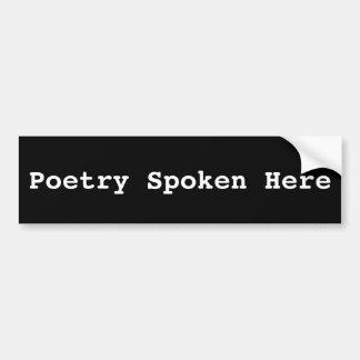 Adhésif pour pare-chocs ici parlé par poésie autocollant de voiture