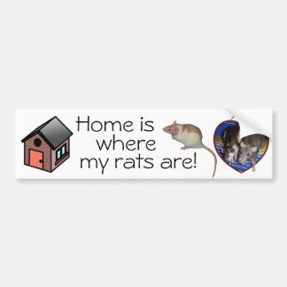 Adhésif pour pare-chocs : La maison est où mes rat Autocollant De Voiture