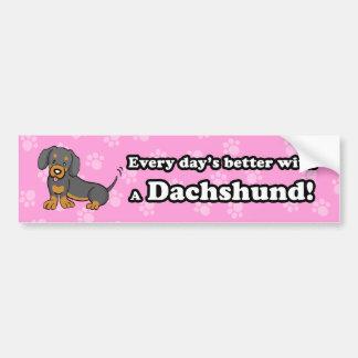 Adhésif pour pare-chocs mignon de teckel de chien  adhésif pour voiture