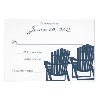 Adirondack Chairs Blue Beach Wedding Response Card