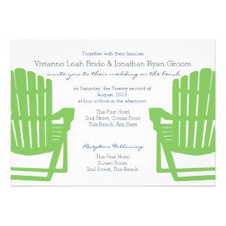 Adirondack préside le mariage de plage de chaux et cartons d'invitation