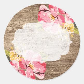 """Admirablement rustique, avec """"a peint"""" des fleurs sticker rond"""