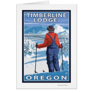 Admirer de skieur - loge de Timberline, Orégon Carte De Vœux