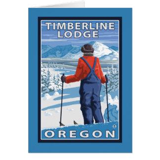 Admirer de skieur - loge de Timberline, Orégon Cartes