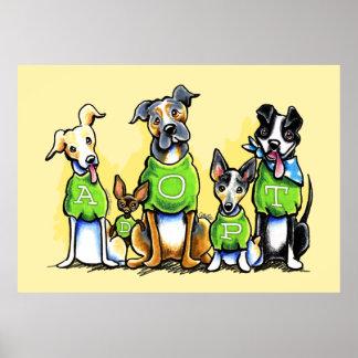 Adoptez les chiens d'abri le tee - shirt que vert  affiches