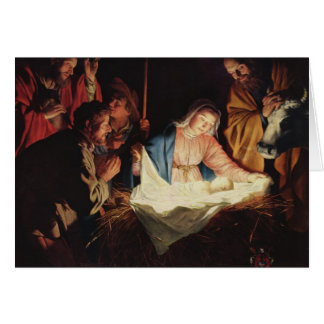Adoration de la carte de Noël de bergers
