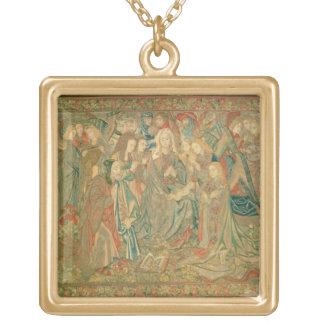 Adoration de l'enfant du Christ (tapisserie) Pendentif Carré