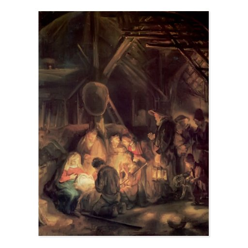 Adoration de Rembrandt des bergers Cartes Postales