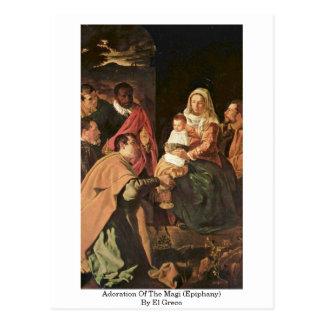 Adoration des Magi (épiphanie) par El Greco Carte Postale