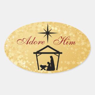 Adorez-le - des autocollants de Noël de scène de
