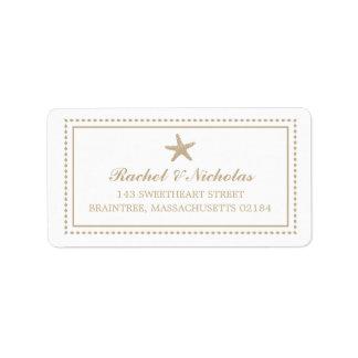 Adresse de expédition gracieuse des étoiles de mer étiquette d'adresse