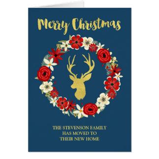 Adresse de Noël de guirlande de cerfs communs d'or Carte De Vœux