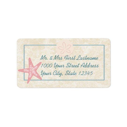 Adresse de plage d'étoiles de mer étiquette d'adresse