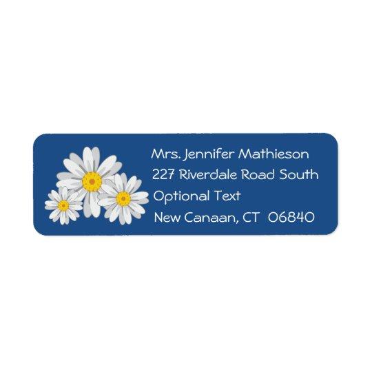 Adresse de retour bleue de fleur florale de étiquette d'adresse retour