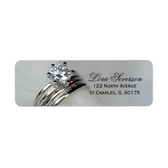 Adresse de retour d'anneaux de mariage étiquette d'adresse retour