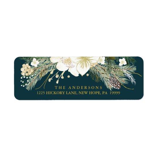 Adresse de retour d'aquarelle botanique de Noël Étiquette D'adresse Retour