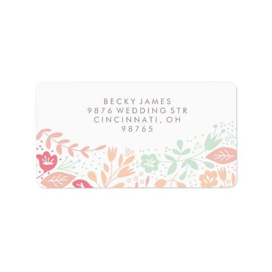 Adresse de retour d'autocollants floraux de grâce étiquettes d'adresse