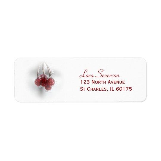 Adresse de retour de baies givrées rouges d'hiver étiquettes d'adresse retour