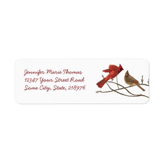 Adresse de retour de cardinaux rouges joyeux étiquette d'adresse retour