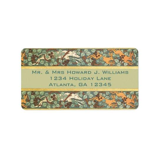 Adresse de retour de chasse anglaise vintage à étiquette d'adresse
