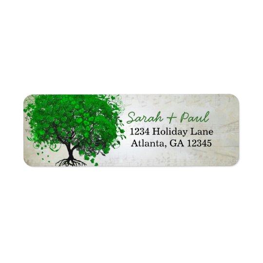 Adresse de retour de coeur d'arbre vert musical de étiquette d'adresse retour
