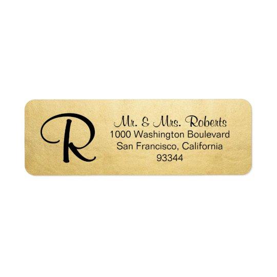 Adresse de retour de feuille d'or de lettre étiquette d'adresse retour