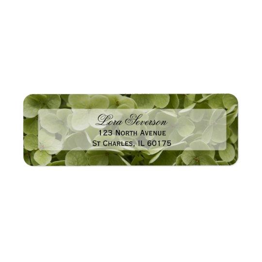 Adresse de retour de fleur verte d'hortensia étiquettes d'adresse retour