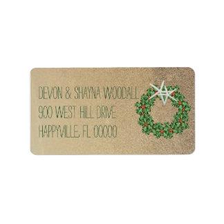 Adresse de retour de Noël d'étoiles de mer Étiquettes D'adresse