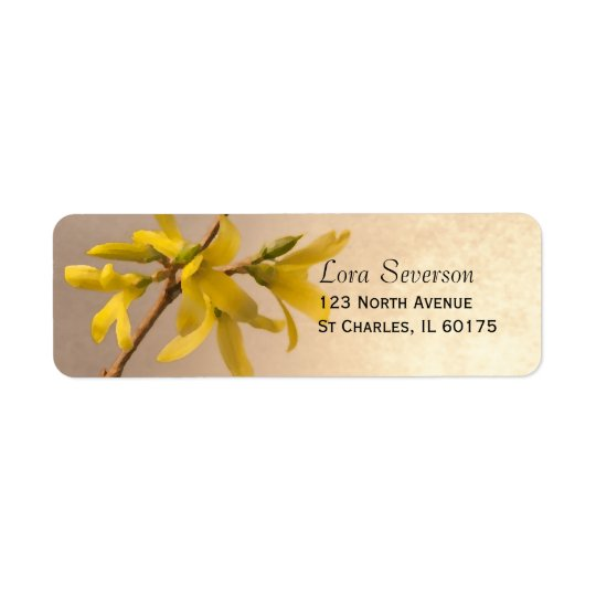 Adresse de retour de ressort de fleurs jaunes de étiquettes d'adresse retour