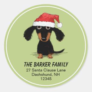 Adresse de retour de vacances de Noël de Père Noël Sticker Rond