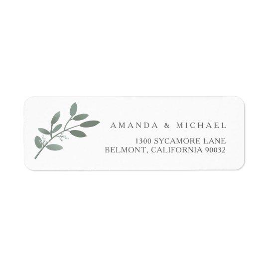 Adresse de retour d'eucalyptus d'enveloppe étiquettes d'adresse retour