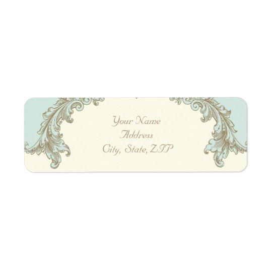 Adresse de retour d'or de cadre vintage bleu de étiquette d'adresse retour