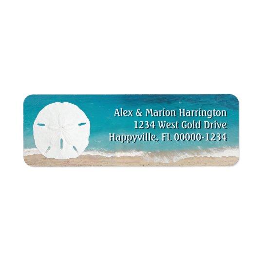 Adresse de retour du dollar de sable d'océan de étiquettes d'adresse retour