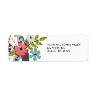 Adresse de retour élégante de bouquet floral étiquette d'adresse retour