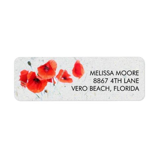 Adresse de retour florale de pavot rouge moderne étiquettes d'adresse retour