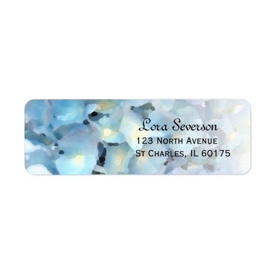 Adresse de retour florale d'hortensia bleu étiquettes d'adresse retour