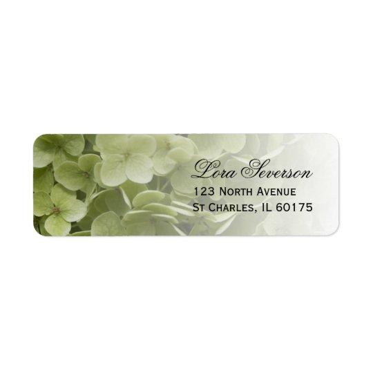 Adresse de retour florale d'hortensia vert étiquette d'adresse retour