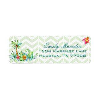 Adresse de retour florale tropicale étiquette d'adresse retour