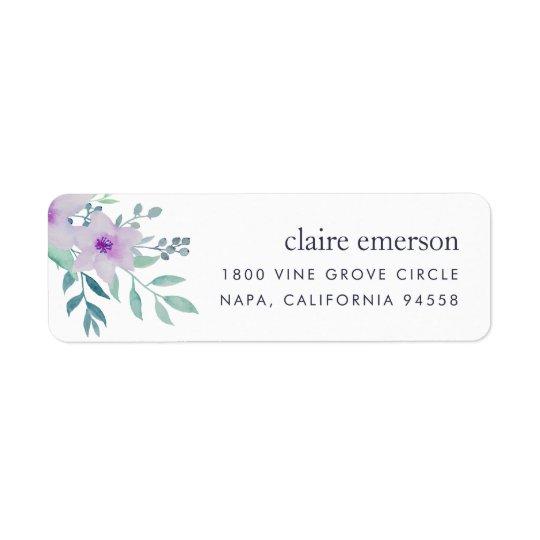 Adresse de retour florale violette et sage étiquette d'adresse retour