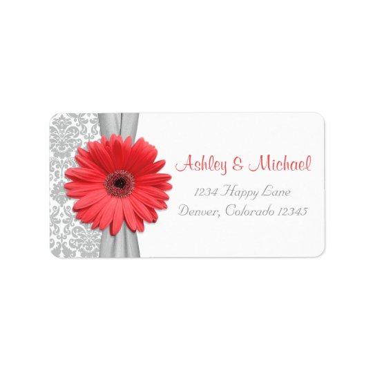 Adresse de retour grise de mariage damassé de étiquette d'adresse