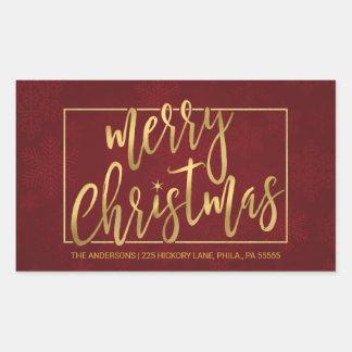 Adresse de retour Main-En lettres de Joyeux Noël Sticker Rectangulaire