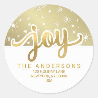 Adresse de retour manuscrite d'or de joie de Noël Sticker Rond