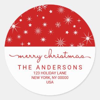 Adresse de retour manuscrite simple de Joyeux Noël Sticker Rond