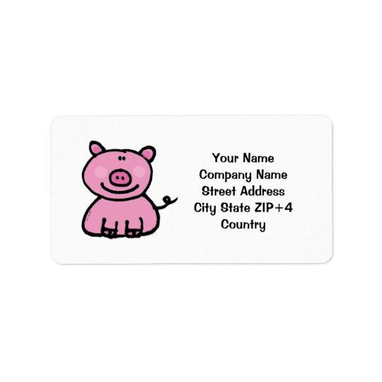 Adresse de retour porcine rose étiquette d'adresse