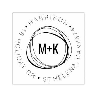 Adresse de retour ronde de monogramme moderne de tampon auto-encreur