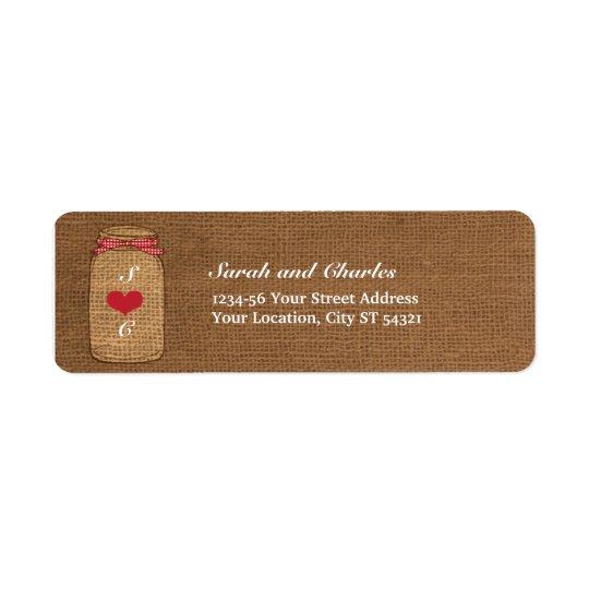 Adresse de retour rouge de pot de maçon de guingan étiquettes d'adresse retour