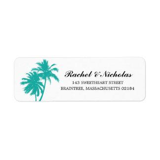Adresse de retour turquoise du palmier   étiquettes d'adresse retour