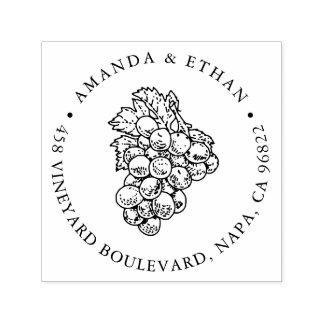 Adresse de retour vintage des raisins | tampon auto-encreur